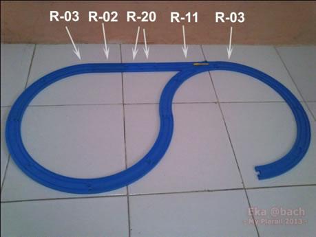 #1 : Bagian dasar : R-03 = 11 pcs, R-02 = 1 pc, R-20 = 2 pcs, R-11 = 1 pc